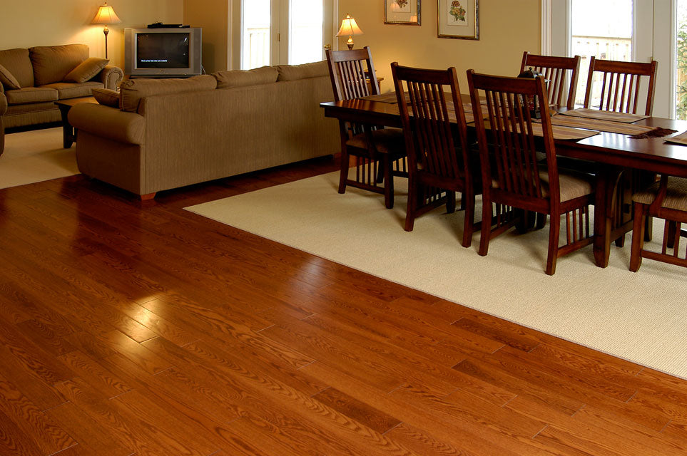 gunstock red oak flooring in a new home