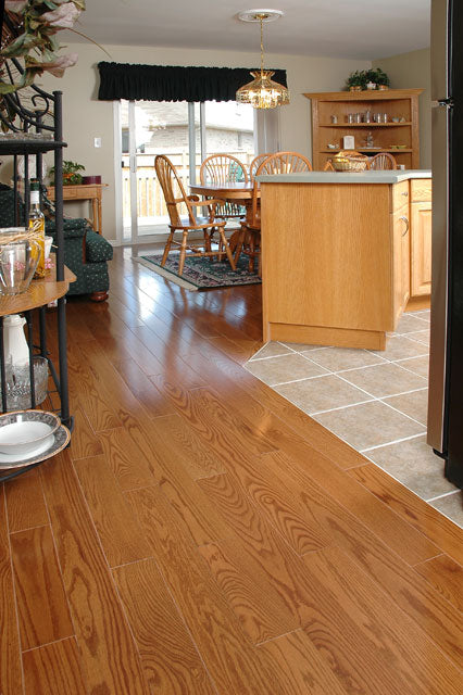 red oak honey wood flooring in a kitchen