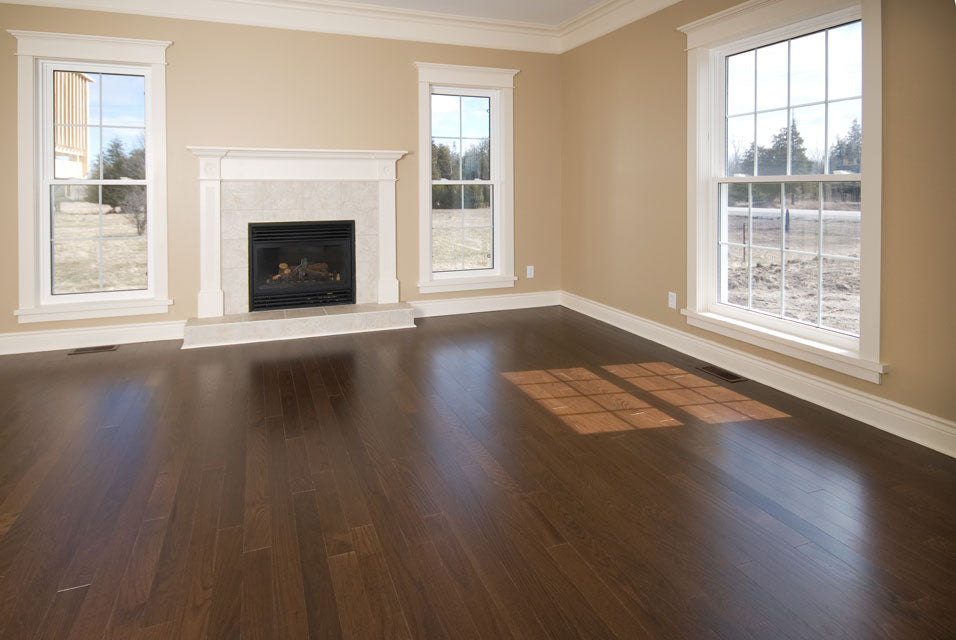dark flooring with white risers