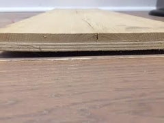 Sample of a thick wear layer on an engineered floor