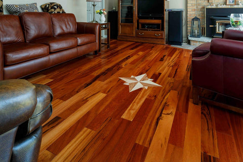 Tigerwood Hardwood Flooring with Leather Couches