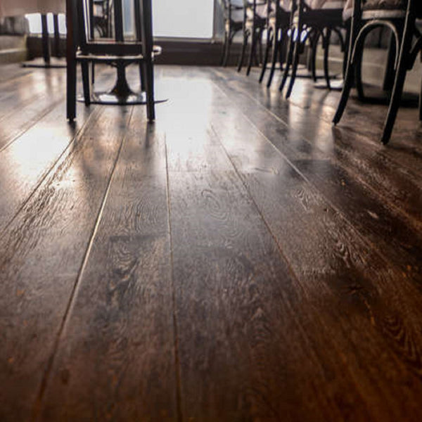 Wide Plank White Oak Hardwood Flooring Slate Distressed -  - 4