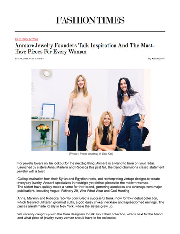 Anmaré Interview with FashionTimes.com