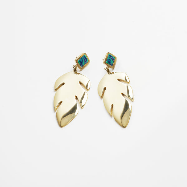 Anmaré Banana Leaf Earrings Azurite