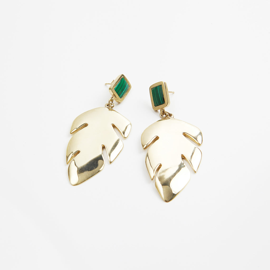 Anmaré Banana Leaf Earrings Malachite