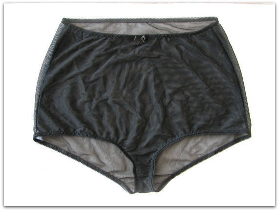 black sheer high waist panties