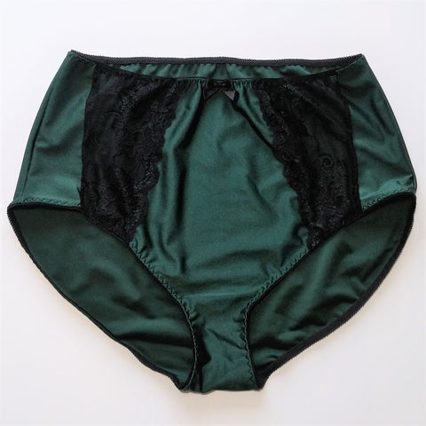 High waist Panties with black lace Size S-XL