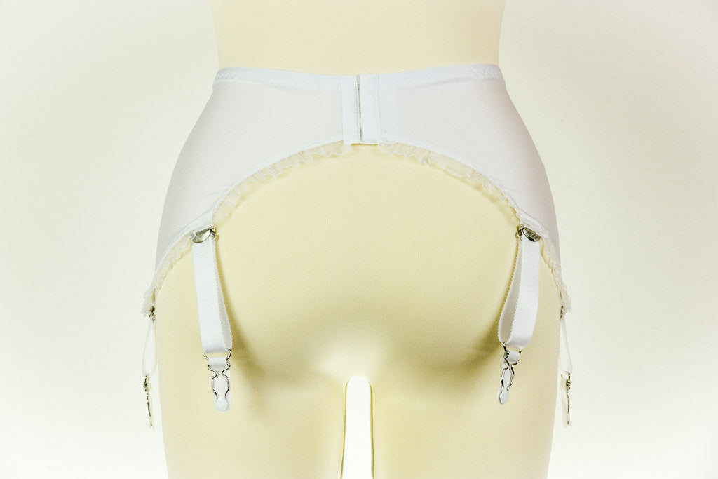 Black or White ELLEN Curved Y Strap Garter Belt S-4XL Suspender Belt