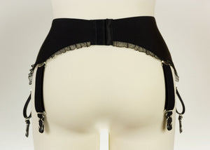 Black or White Frilly GRETA Garter Belt with frill trim Retro Suspender Belt - Size XS-4XL