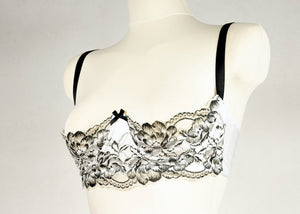 White and Black Lace PEARL Quarter Cup Bra