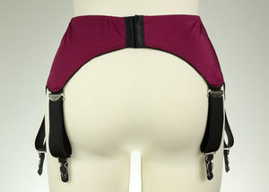 Burgundy red IRIS Garter Belt Deep V Style Wide Suspender Belt Size XS-4XL