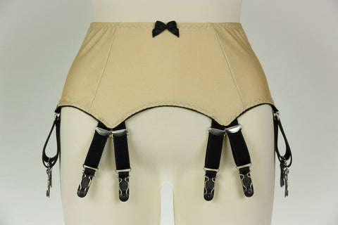 Beige Green or Dark Red Double Strap JOAN Suspender Belt 12 Straps Fetish Garter Belt - Size S-4XL