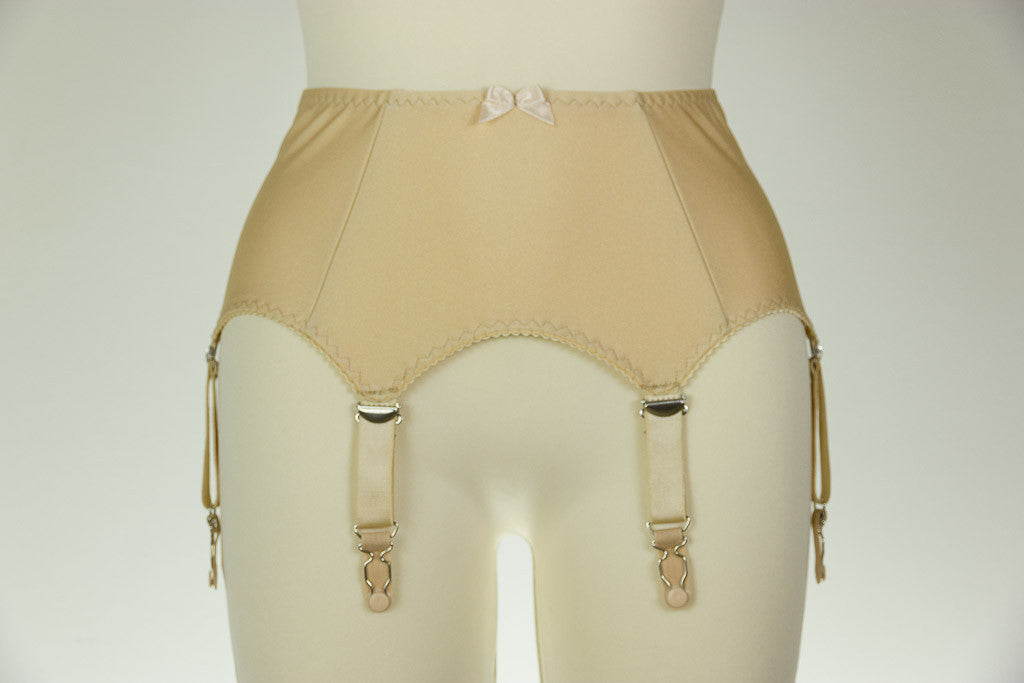 6 Strap GRETA Smooth and Simple Retro Style Garter Belt in Black White Beige Size XS-4XL