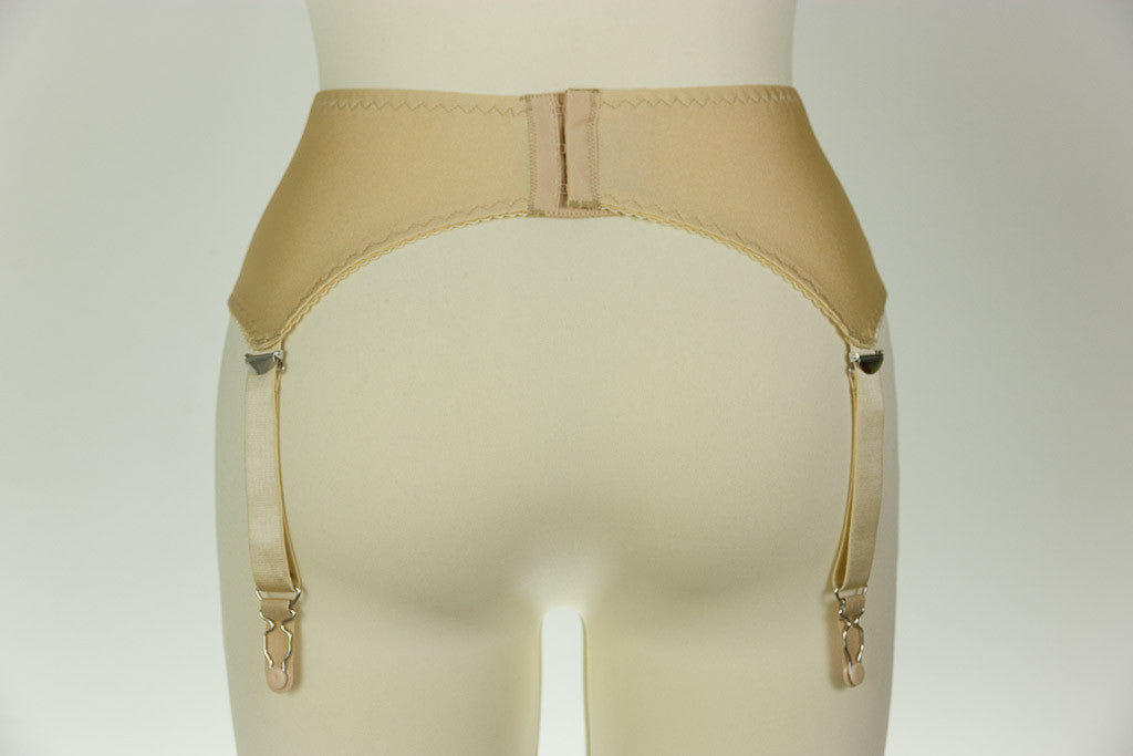 4 Strap GRETA Smooth Retro Style Garter Belt Black White Beige XS-4XL