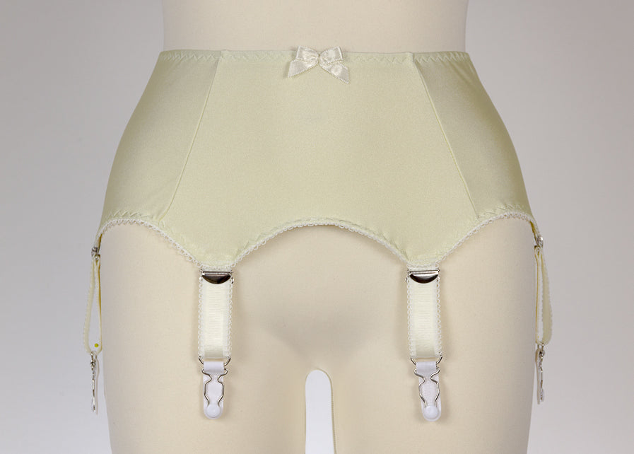 Cream GRETA Garter Belt 6 Strap Retro Style Suspender Belt Size XS-4XL