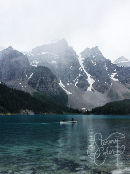 Canoeing in Moraine Lake, AB, Canada