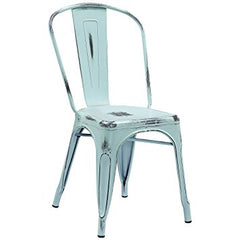 Distressed Furniture Blue Metal Chair