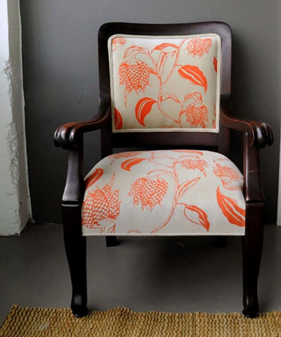 Rustic Wood Chair With Fabric Covering