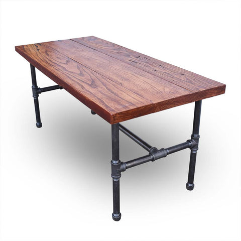 Black Iron Reclaimed Wood Coffee Table - Brown