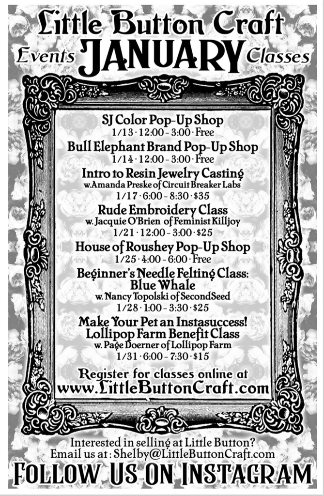 January 2018 Events and Pop Up Shops