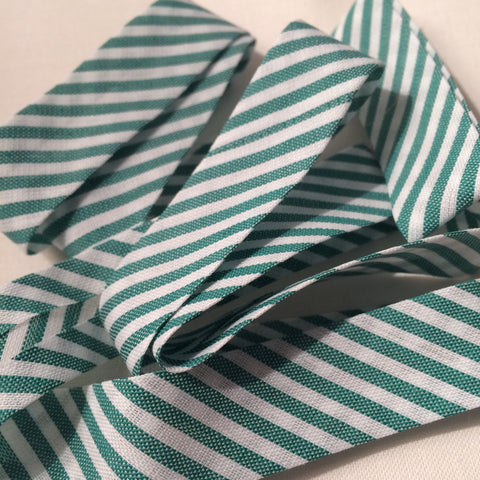 Green Stripe Bias Binding - The Christmas Fabric Shop