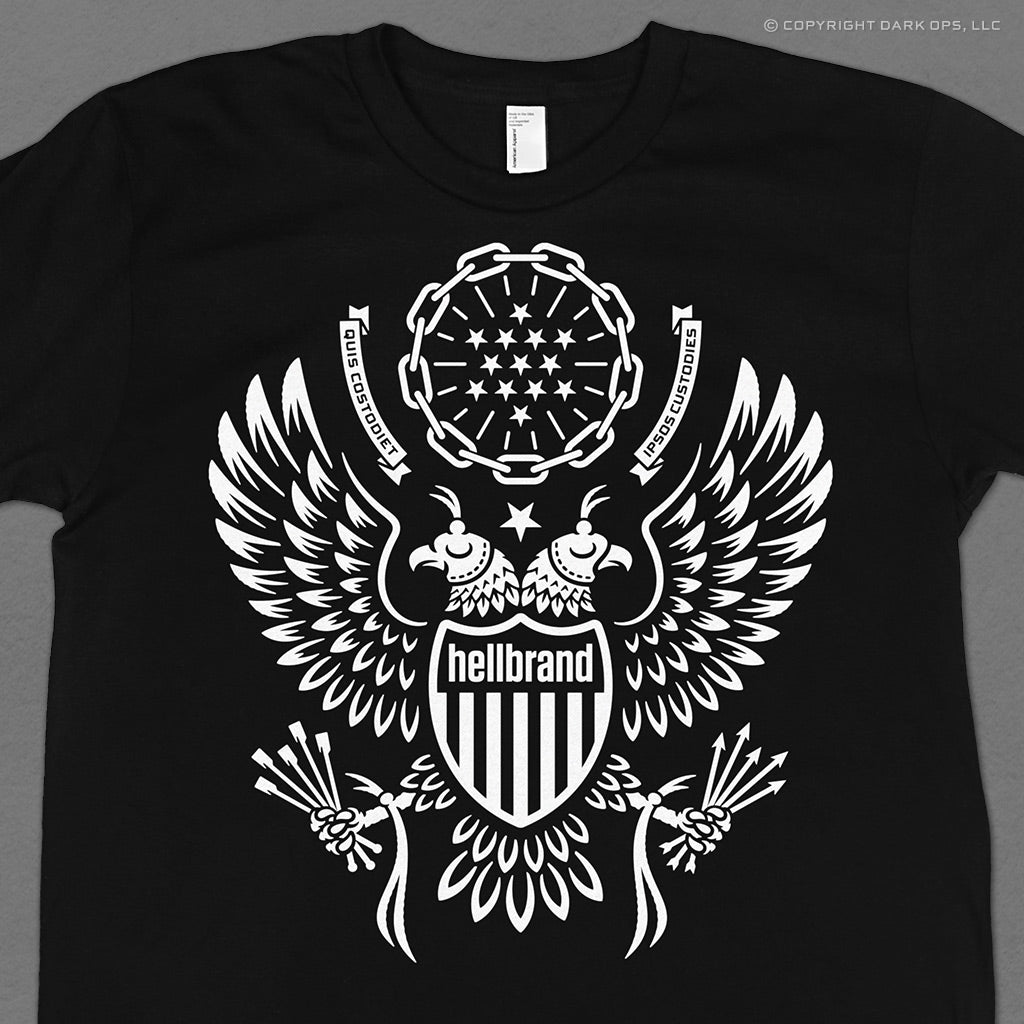 Hellbrand t-shirt featuring the eagle of the great seal of the united states with 2 heads, blinders, jesses, and riding crop whips