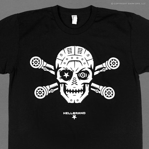 Hellbrand t-shirt featuring a skull and crossbones jolly roger rendered as a mechanical robot cyborg android
