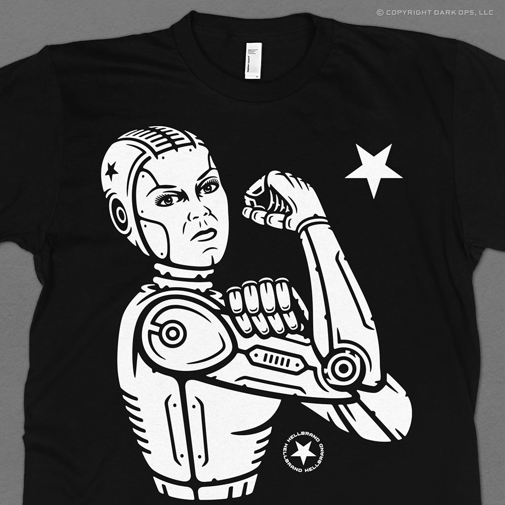 Hellbrand Rosie the Robot T-Shirt with Rosie the Riveter as a mechanical android cyborg robot