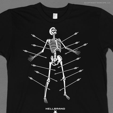 Hellbrand t-shirt featuring the skeleton of St. Sebastian pierced by archery arrows, he's a martyr