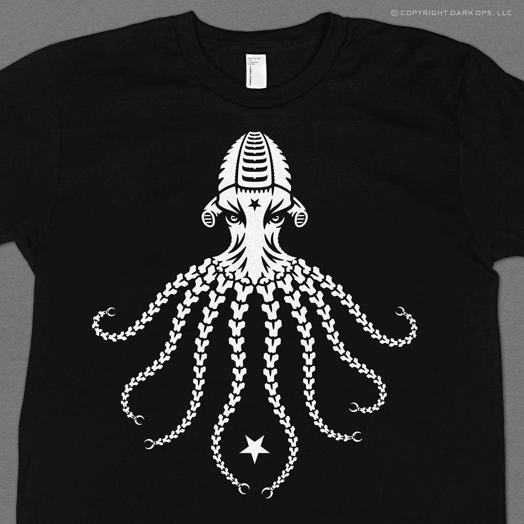 Hellbrand Octopoid Tee with mechanical octopus cyborg android robot