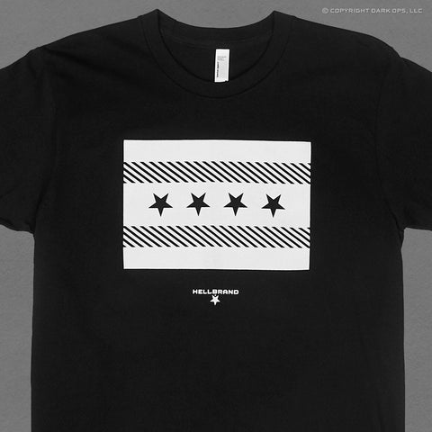 Hellbrand t-shirt with the chicago flag rendered in black and white