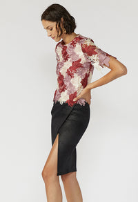 Lizette Lace Top-Cherry Multi