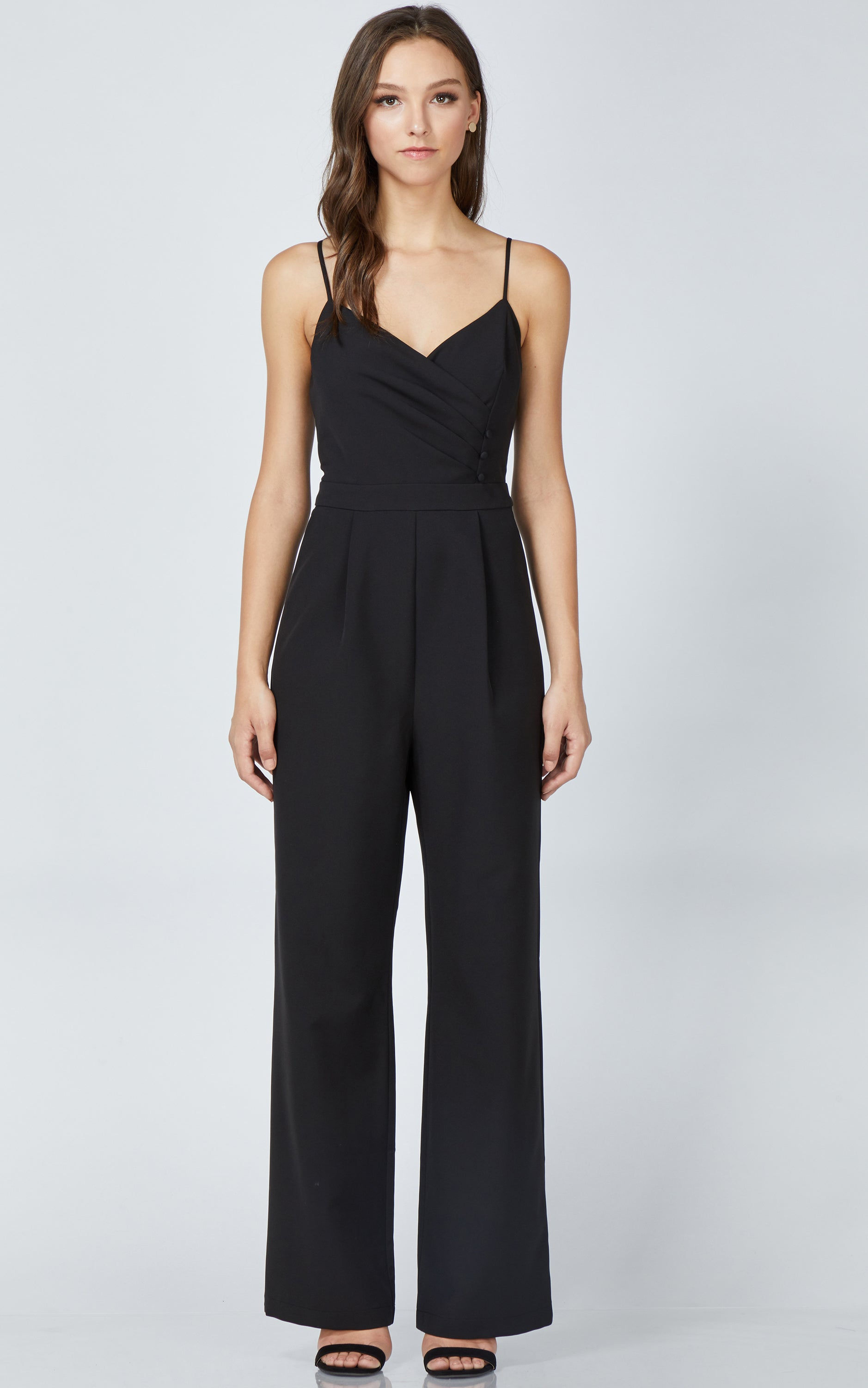 women's black sleeveless jumpsuit