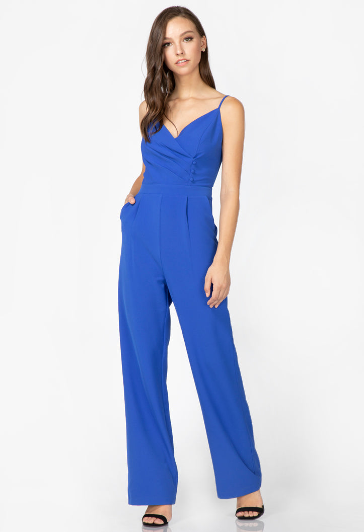 women's blue sleeveless jumpsuit