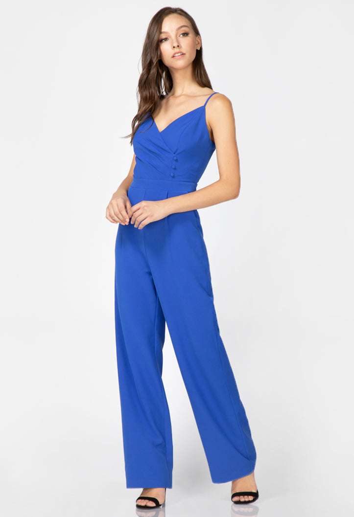 blue cami jumpsuit with button details