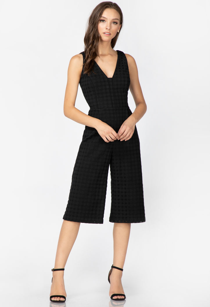 women's black culotte jumpsuit