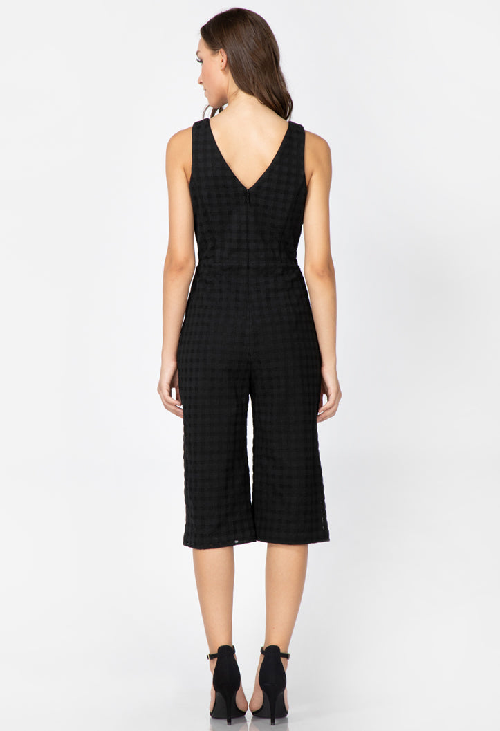 v-neck black wide legged jumpsuit