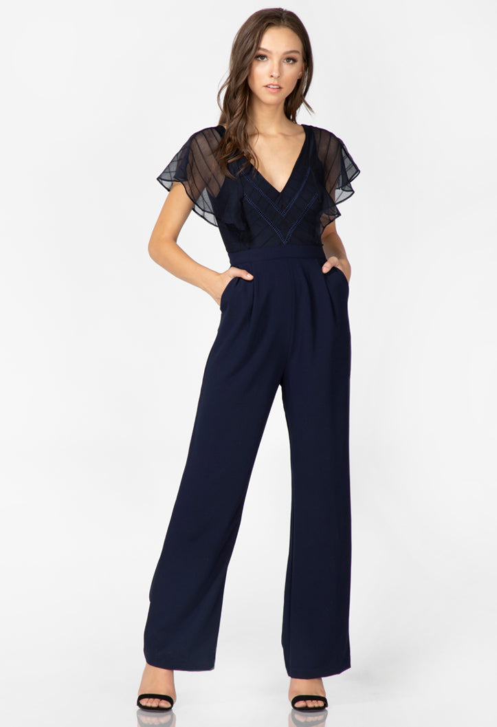 navy v-neck short sleeve jumpsuit