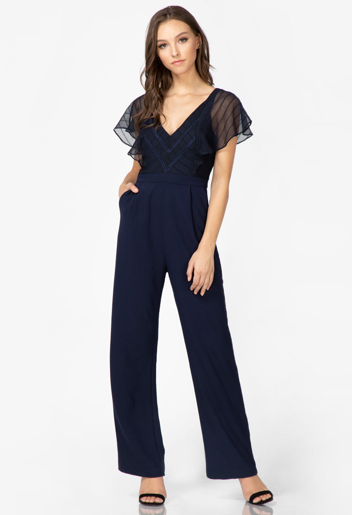 women's navy ruffle sleeve jumpsuit