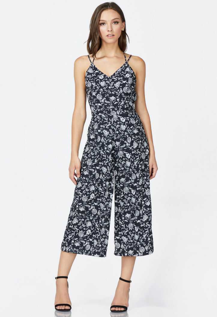 black printed sleeveless wide legged jumpsuit