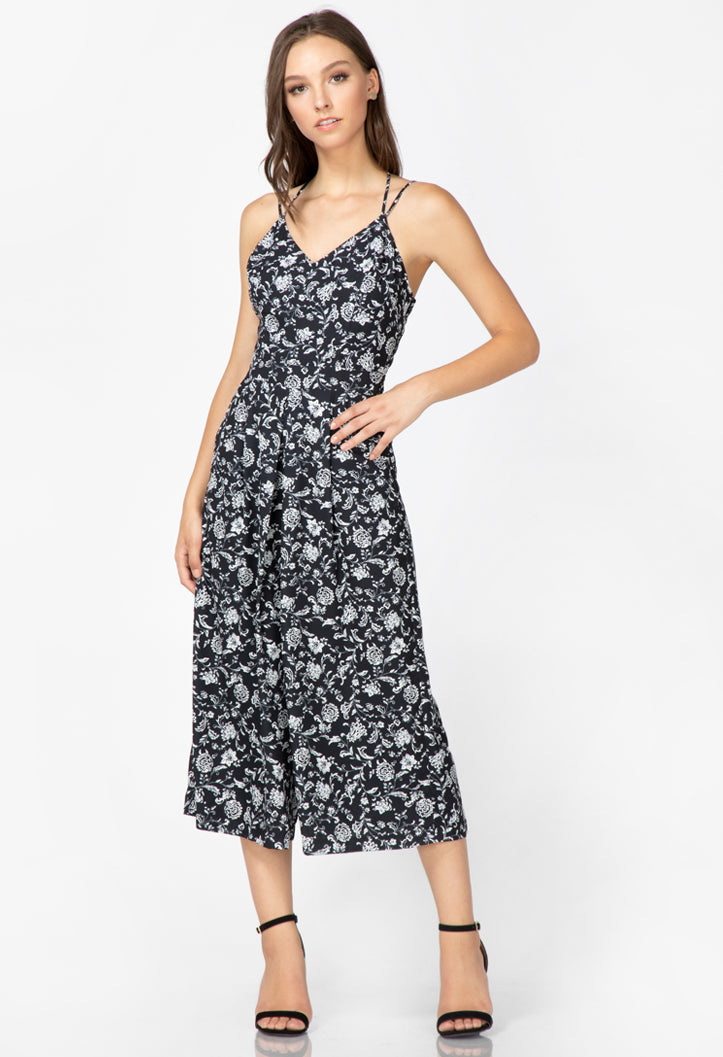 women's black printed culotte jumpsuit