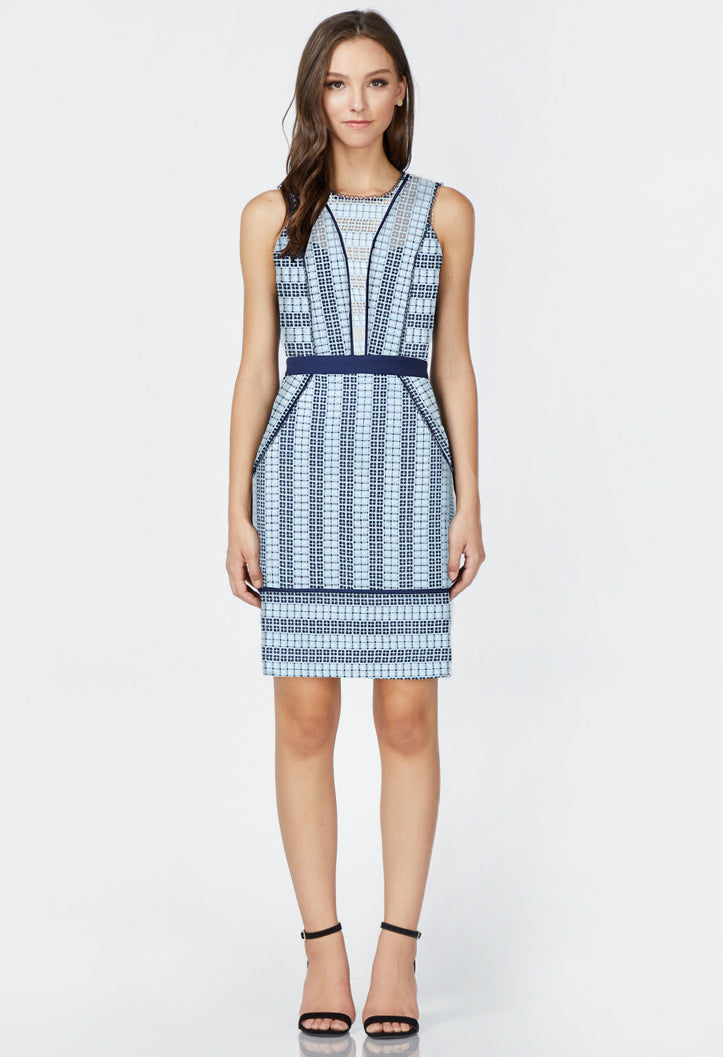 women's blue stripe lace dress