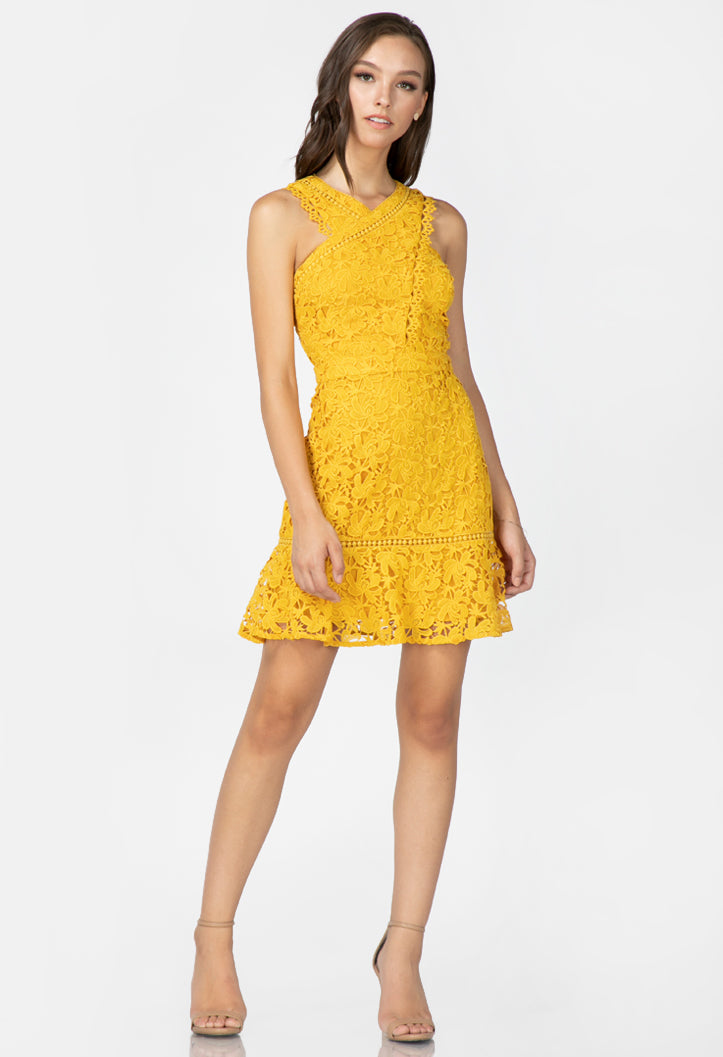women's yellow lace mini dress