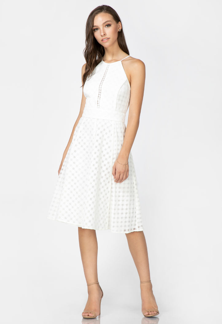 women's white halter fit and flare midi dress