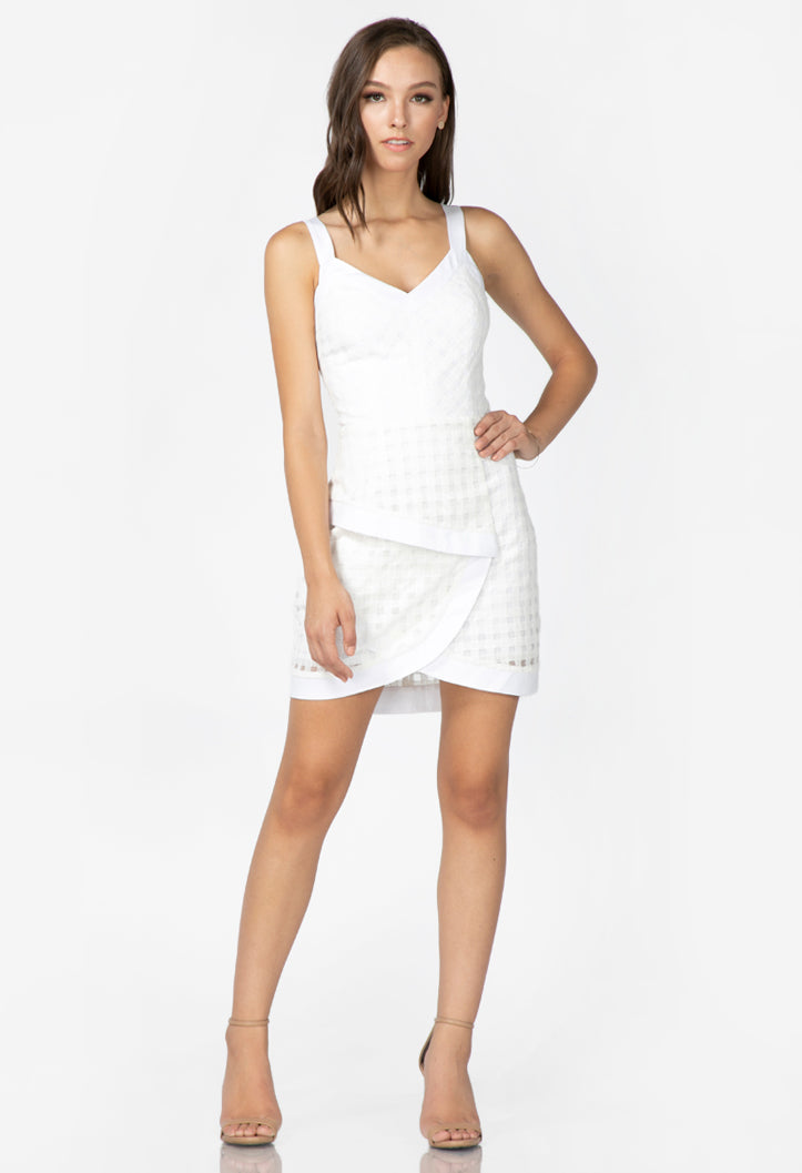 women's white embroidered mesh dress