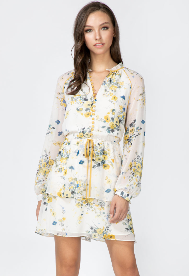 floral white long sleeve mini dress