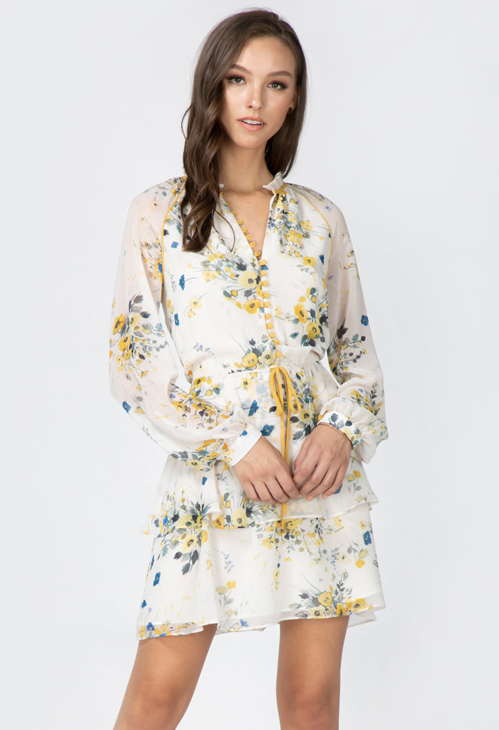 women's white floral mini dress