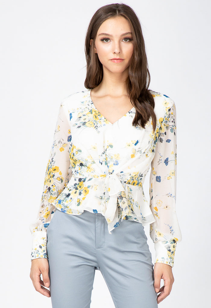 white floral long sleeve tie front blouse