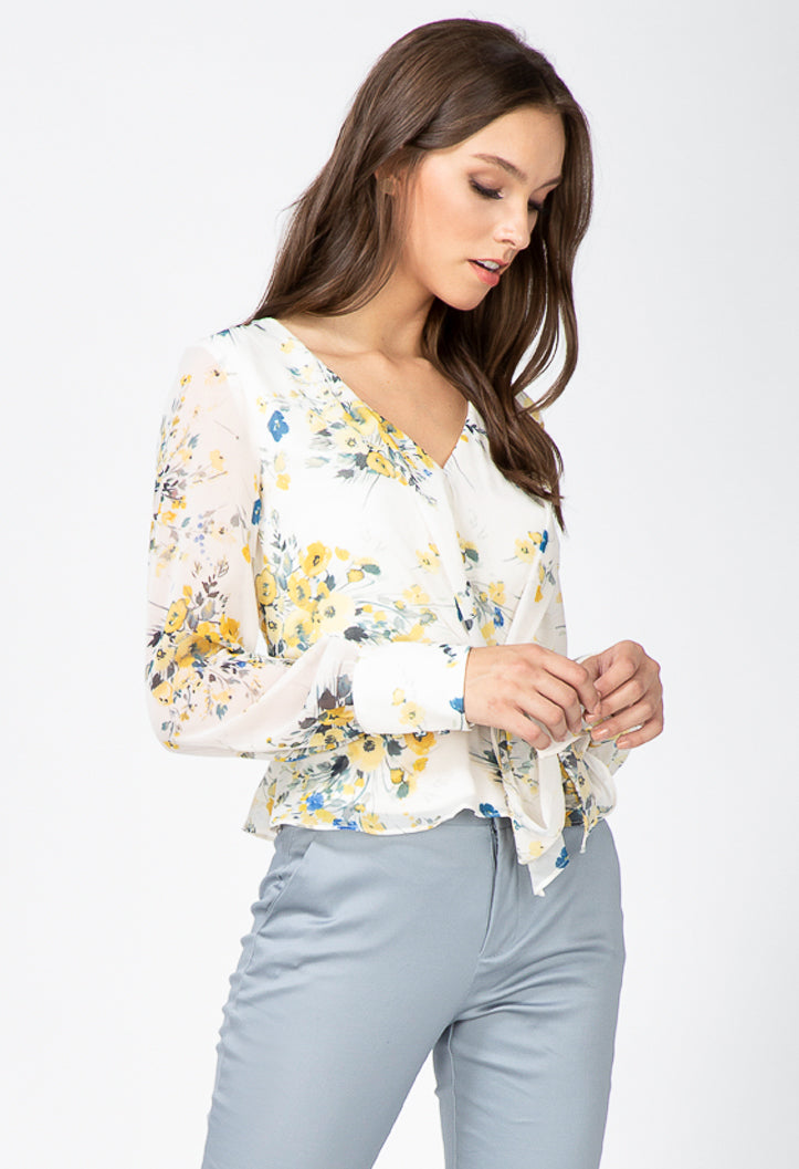 women's long sleeve floral blouse