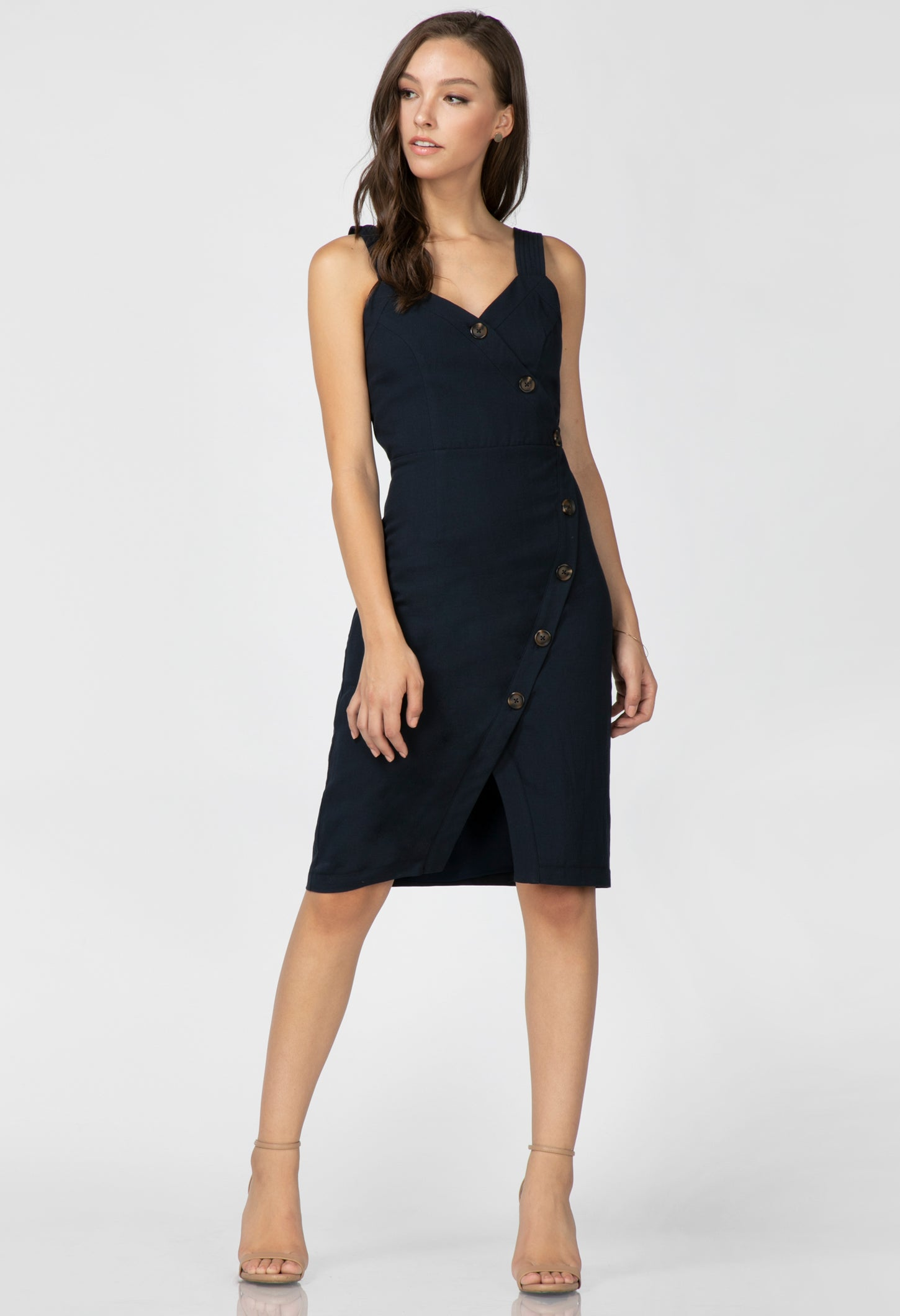 Presley Buttoned Wrap Dress